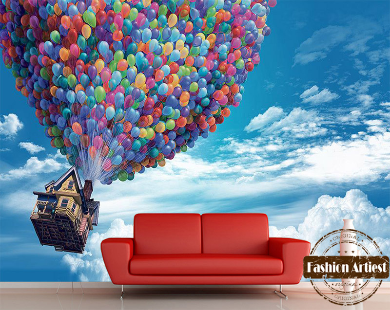 Custom 3d Kids Cartoon Wallpaper Mural Flying House With Balloon Up Blue Sky Tv Sofa Children Bedroom Living Room Background In Wallpapers From Home