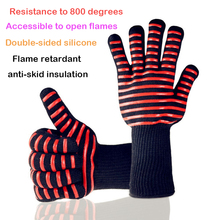 1PairAramid high temperature 800 barbecue fire-retardant fireproof gloves for barbecue, oven, microwave oven, industrial use 45cm high temperature gloves aramid flame retardant insulation safety glove lengthened fire gloves