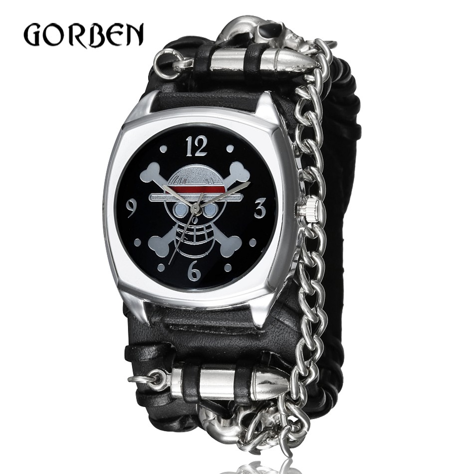 Fashion Punk Men watches Rivet Leather Band Military Pirate Skull Sports Quartz Watch for men watches Gifts Relogio Masculino