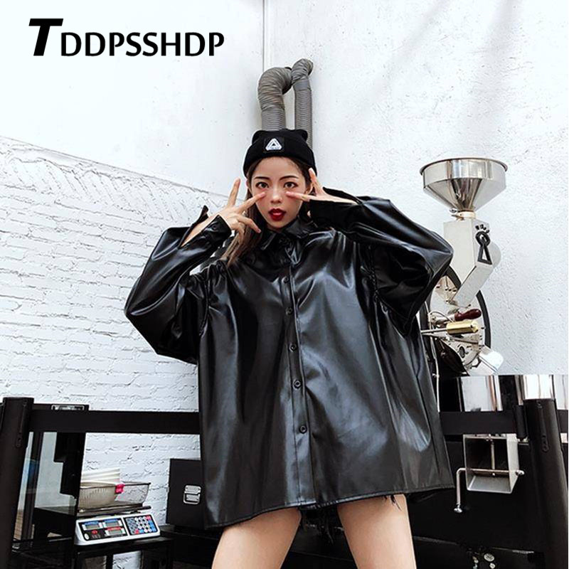 Black Color Pu   Leather   Jacket 2019 Spring Hip Hop Harajuku Korean Casual Button Female Coat