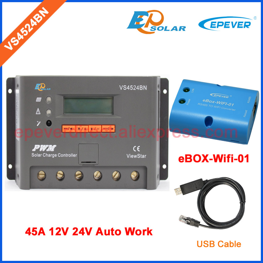 VS4524BN eBOX-Wifi-01 wifi adapter 45A charger solar power controller USB cable PC connect communication 24V 12V system work pwm new solar controller viewstar series vs2024bn with usb communication cable 20a 12v 24v wifi connect app box adapter