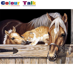 DIY Oil Painting by Numbers Kits for Adults Modern Unframed Canvas Pictures for Living Room Paint by Numbers Animal Horse P-0636