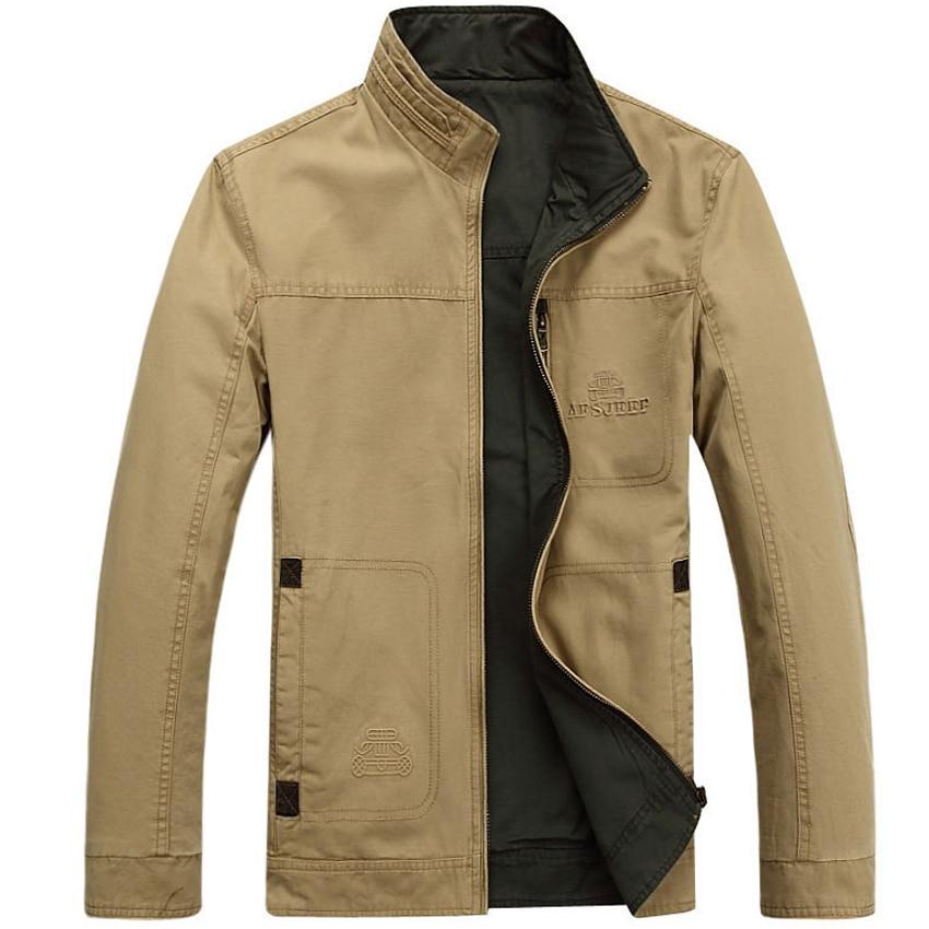 AFS JEEP Mens Double Side Wear Jacket Coat Khaki and Green Colors Size M-4XL AFS JEEP Jacket Men Dress 145