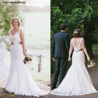 Country Mermaid Wedding Dresses Lace Backless V Neck Sweep Train Sashes 3D Flowers Sexy Modest Bridal Gowns Robe De Mariee 2019