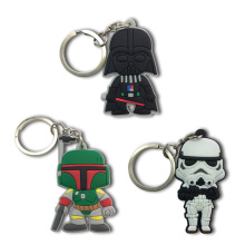 цена 1PCS Star Wars PVC Cartoon Key Chain Mini Anime Figure Key Ring Kids Toy Pendant Keychain Key Holder Fashion Charms Trinkets в интернет-магазинах