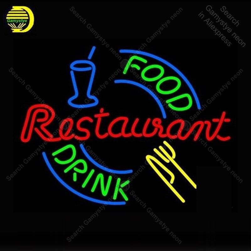 Enseigne au néon pour Restaurant boisson alimentaire affichage lampes au néon véritable Tube de verre décorer maison chambre publicité néon lumière personnalisée avec panneau