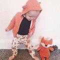 Roupa do bebé para a primavera outono, bebê boys & girls orange cor hoodies brasão com fox projeto roupa dos miúdos roupas definir