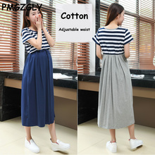Cotton Maternity Dresses Adjustable waist Maternity Clothings Spring Short Sleeve Clothes for Pregnant Women Pregnancy Clothing(China)