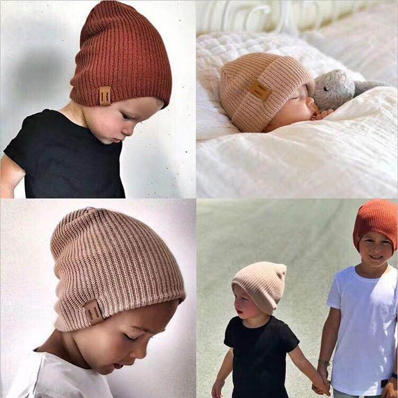 2019 New Arrival Kids Girl Boy Winter Hat Baby Soft Warm   Beanie   Cap Crochet Elasticity Knit Hats Children Casual Ear Warmer Cap