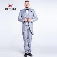Xijun Frack Hochzeitsanzug Für Männer Silber Plus Größe Groomsmen Tuxedo Anzüge Erreichte Revers Männer 3 Stück (Jacke + hosen + Weste)