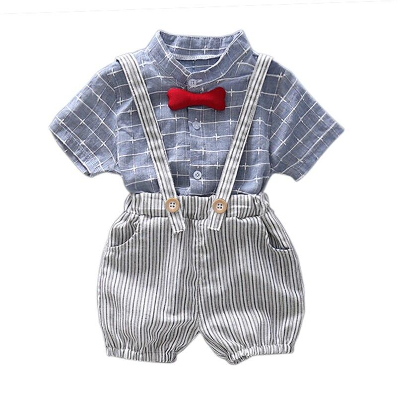 Модные Комплект одежды для маленьких мальчиков летний комплект для малышей Шорты Рубашка От 1 до 4 лет детская одежда костюмы Формальные Кос...