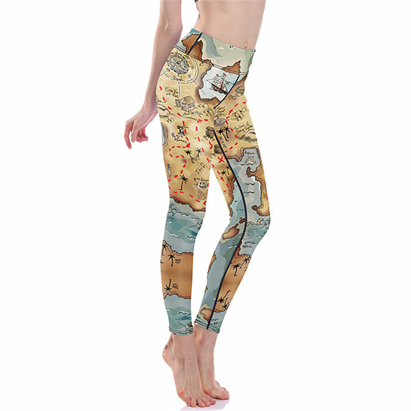 Women Flexible World Map Print Tight Pants Workout Gym