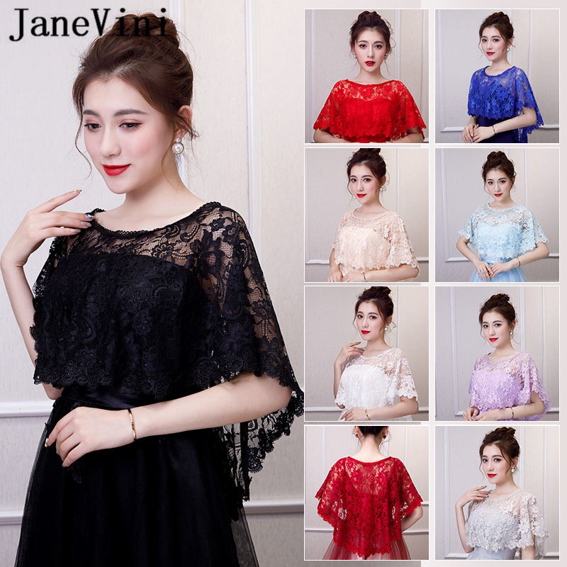 JaneVini 2019 Elegant Black Lace Bolero Bridal Wraps Women High Low Short Cape Female Shawls Summer Jackets Wedding Accessories