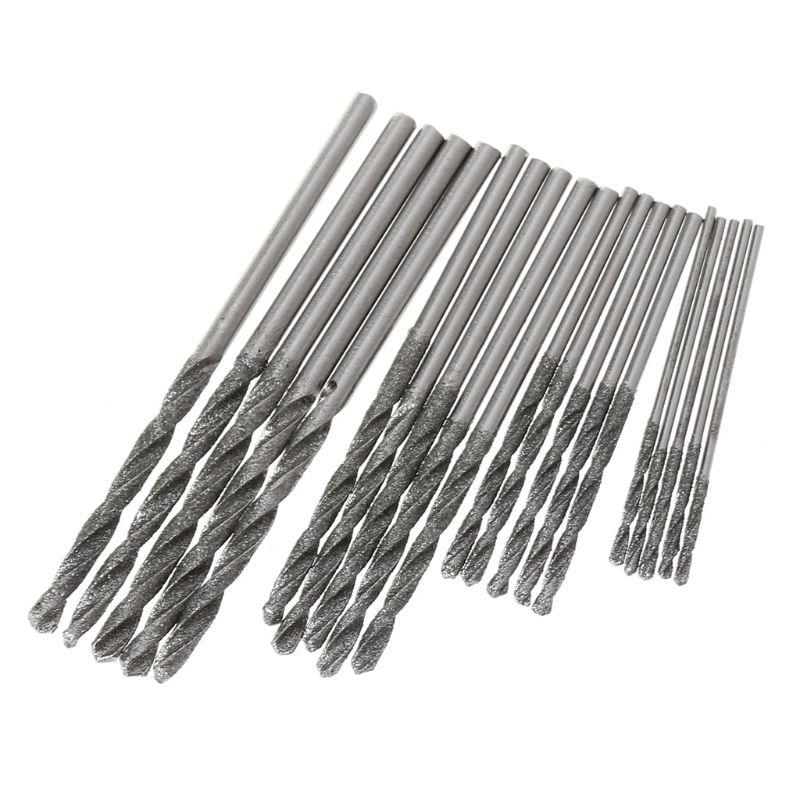 1mm 1.5mm 2mm 2.5mm Diamond Coated Twist Drill Bits Set For Glass Soft Metal Tile Stone Drilling Jewelry 20Pcs