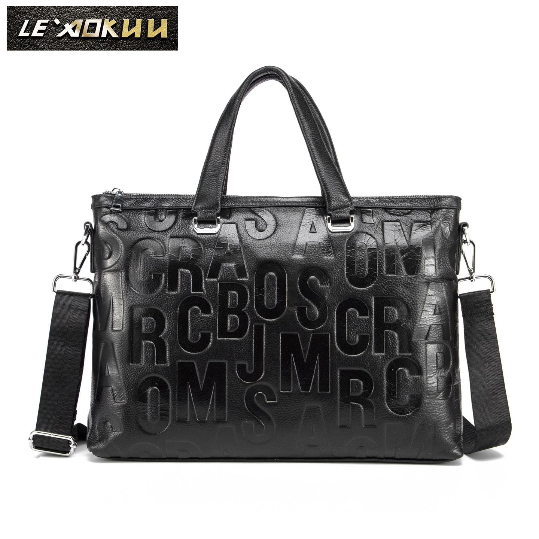 Original Leather Black Fashion Design Men Briefcase Business 15