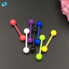 3 PCS/Lot Mix Color Tongue Barbell Ring Acrylic Uv Tongue Piercing Wholesale Piercing Tongue Grills Jewelry Piercing Cartilage