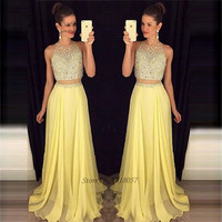 Vestido Longo Yellow Long Elegant 2 Piece Prom Dresses 2017 Crystals Evening Party Dress for Graduation Formatura Ballkleider