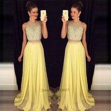 Vestido Longo Yellow Long Elegant 2 Piece Prom Dresses 2017