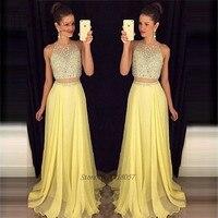 Vestido Longo Yellow Long Elegant 2 Piece Prom Dresses 2017 Crystals Evening Party Dress for Graduation Formatura Ballkleider