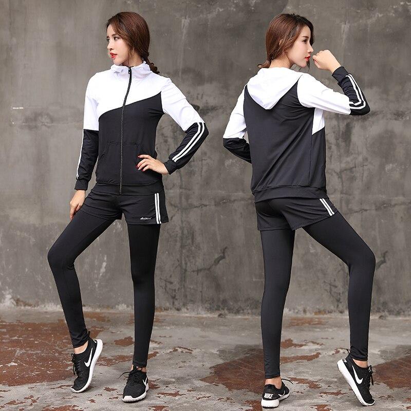 2018 Women Yoga Set Long Sleeve Fitness Breathable Zipper Jacket Sport Bra Yoga Shirt Running Pants Short 5 Pieces Jogging Suit - 6