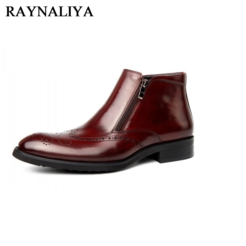 2018 Fashion Men's Genuine Leather Ankle Boots Man Metal Pointed Toe Punk British Style Chelsea Boot Mens Casual Shoes YJ-A0047 new british style real top cow leather boots qshoes mens business dress casual fashion men personalized round toe boot y97 663