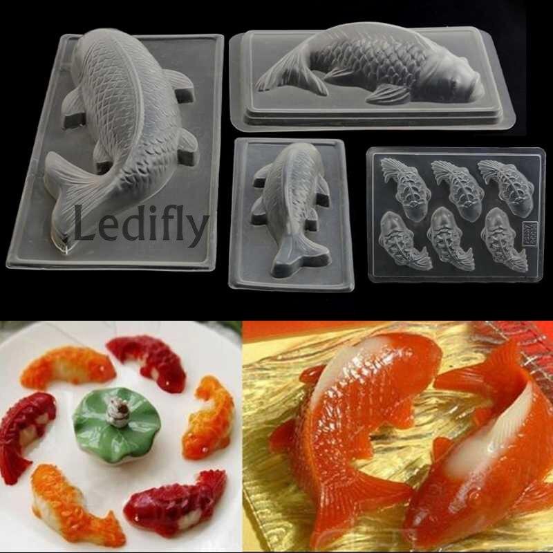 Ledifly hot sale plastic 3d koi fish cake chocolate diy for Koi fish mold