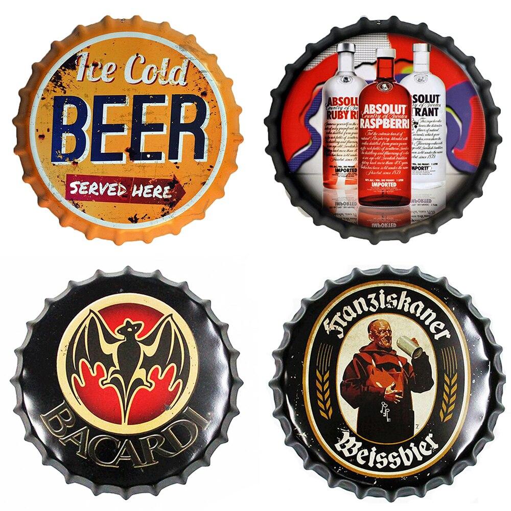 Beer Bottle Cap Retro Plaque Metal Tin Signs Cafe Bar Pub Signboard Wall Decor Vintage Nostalgia Round Plates Art Poster
