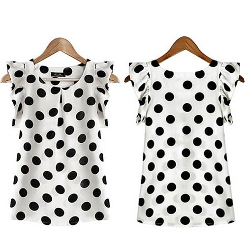 Hot Women Summer Casual Polka Dot Round Neck Short Sleeve Shirt Top Chiffon Blouse 3