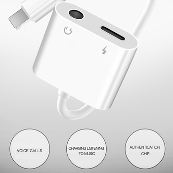 2 in 1 Earphone Audio Adapter Charging Cable Mobile Phone Aux Dual Jack For iPhone 7 8 plus X XS For Lightning 3.5mm Splitter 8