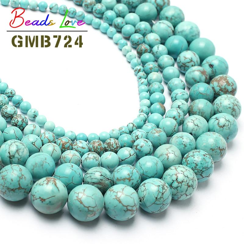 "Hot Sale15.5 ""Natural Turquoises Stone Beads redondos para la fabricación de joyas 6 8 10 12 14mm Spacer Beads tamaño Pick envío gratis F00041"