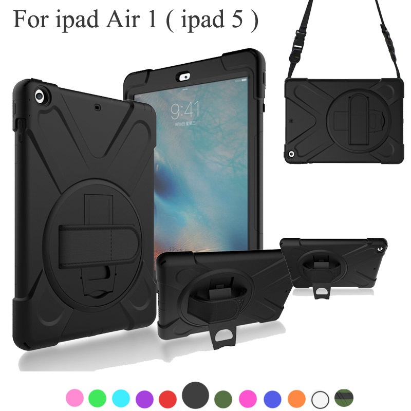 For Apple Ipad Air 1 ( ipad 5 ) Case Kids Safe Shockproof Heavy Duty Silicone+PC Kickstand Case w/ Wrist+Shoulder Strap