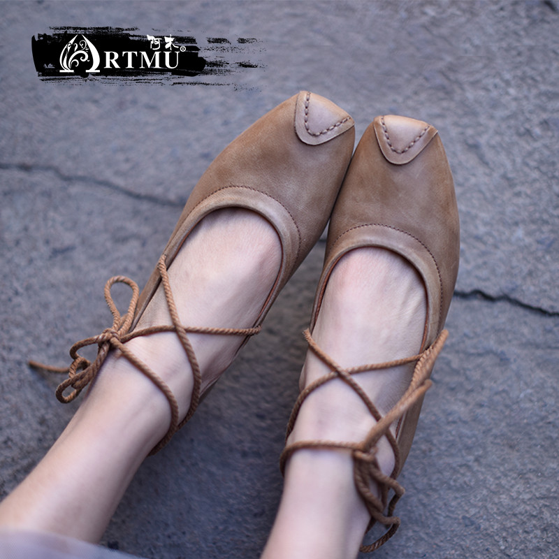 Artmu 원래 레트로 광장 발가락 diy 크로스 묶인 소 가죽 얕은 입 여성 신발 편안한 부드러운 발바닥 가죽 수제 9728 6-에서여성용 플랫부터 신발 의  그룹 1