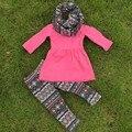 Venta caliente otoño / invierno niños bebés trajes 3 unidades de la bufanda de las bragas que arropan venta caliente azteca boutique ropa kids Hot pink superior establece