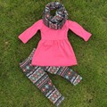 hot sell FALL/Winter kids baby OUTFITS 3 pieces scarf pant sets girls Hot sell Aztec boutique clothes kids hot pink top sets