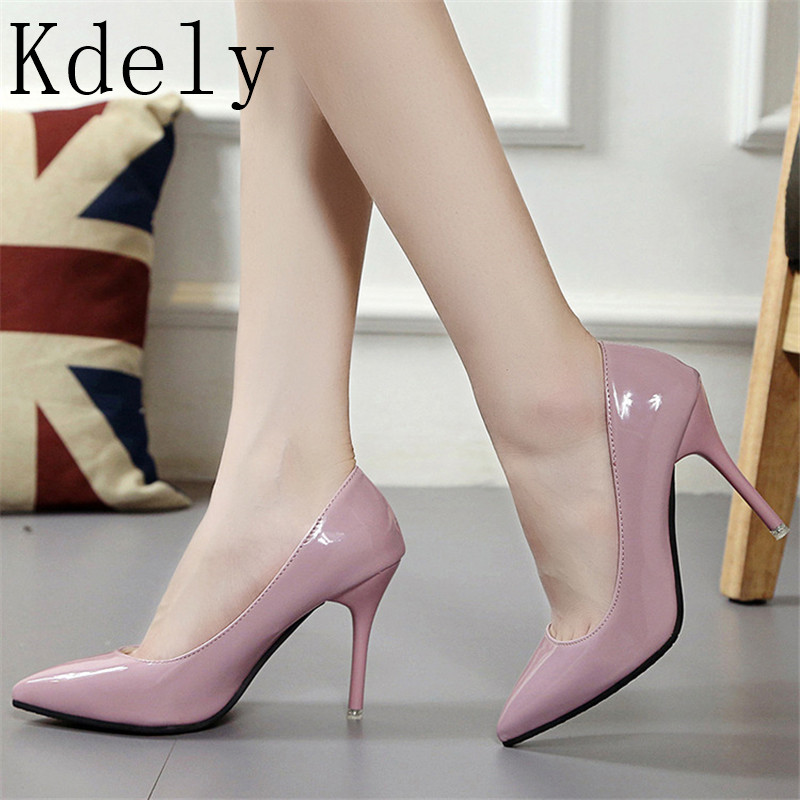 Low Price HOT Women Shoes Pointed Toe Pumps Patent Leather Dress Shoes High Heels Boat Shoes Wedding Shoes Zapatos Mujer 8.5/4cm