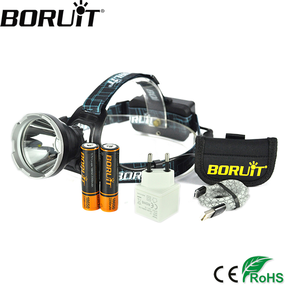 BORUIT B10 3800LM XM-L2 LED Headlamp 3-Mode Hunting Waterproof Headlight Micro USB Rechargeable Frontal Head Lamp Torch Light cree xml l2 led zoomable headlamp red green blue fishing 4 mode head lamp light torch hunting headlight 18650 battey usb charger
