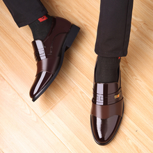 Rommedal business men formal shoes PU leather bright slip-on brown black wedding dress office elegant oxford footwear 2019