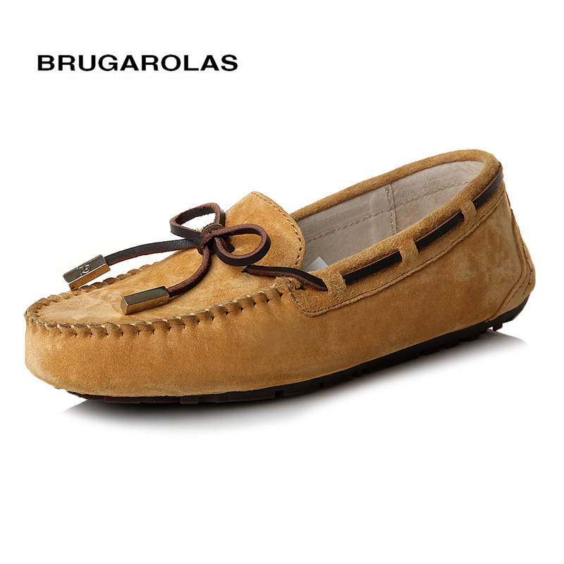 BRUGAROLAS - 2017 Hot Sale 100% Genuine Leather Women Shoes Spring Summer High Quality Flats Driving Shoes Brand Women loafers hot sale 100% genuine leather women s handbag summer