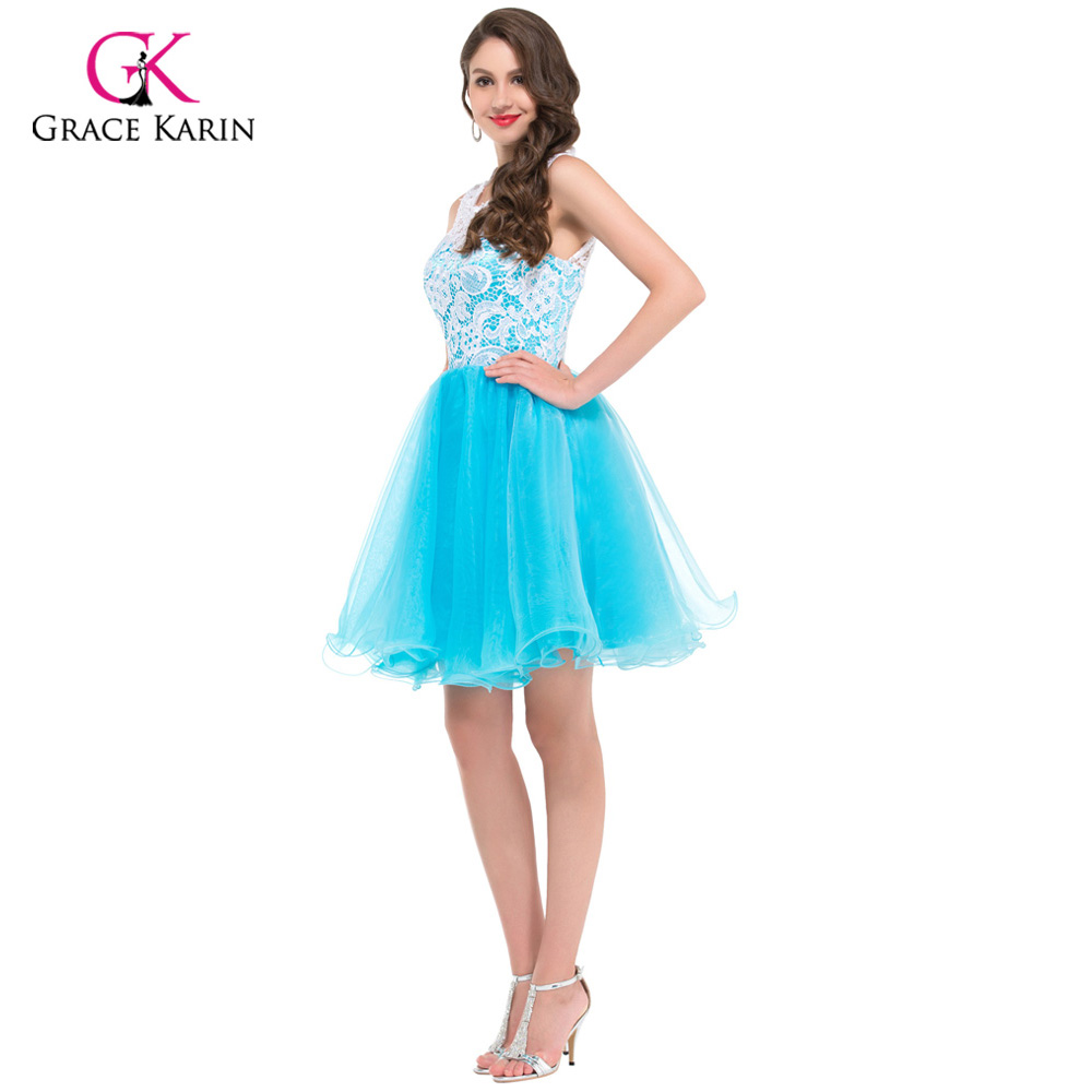 Grace Karin Cheap Blue Black Yellow Lace Short Puffy Prom Dresses ...