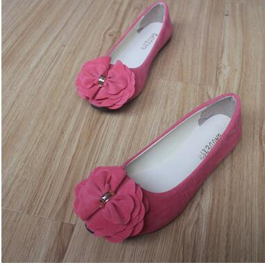 2017 new sweet bow girl single shoes flat with comfortable shallow mouth suede small pointed shoes big size shoes woman size 35- 2017 the new european american fashion horn bow pointed mouth shallow comfortable flat sheet metal red shoes tide size 35 41