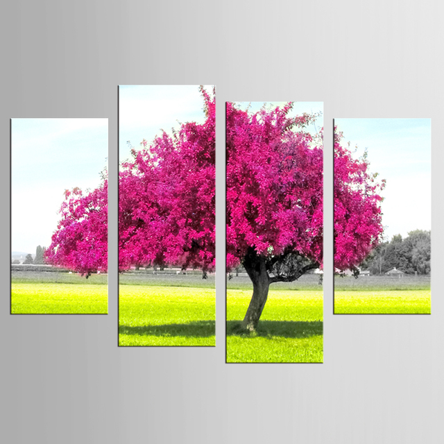 4 Panels Framed Beautiful purple tree Painting Canvas Wall Art ...