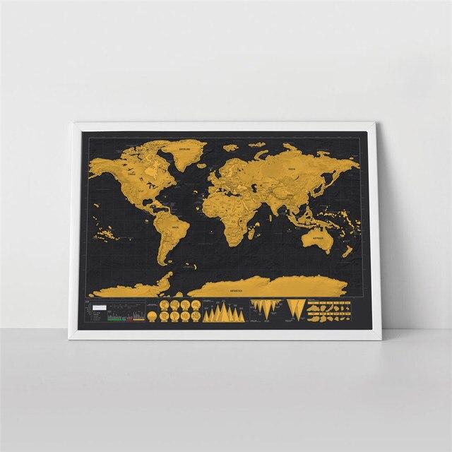 Drop Verschiffen Deluxe Reise Scratch Welt Karte Vintage Gold