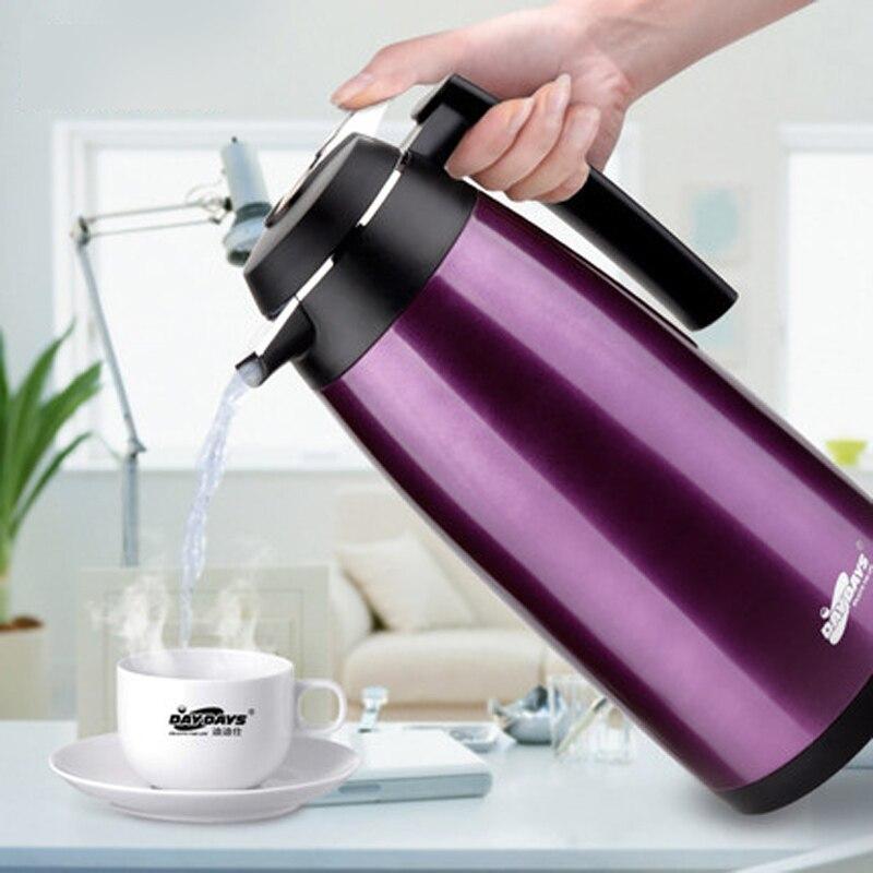 Double paroi en acier inoxydable Thermos bouilloire 1.6L grande capacité ménage isolation cruche Pot café Thermos fiole de haute qualité