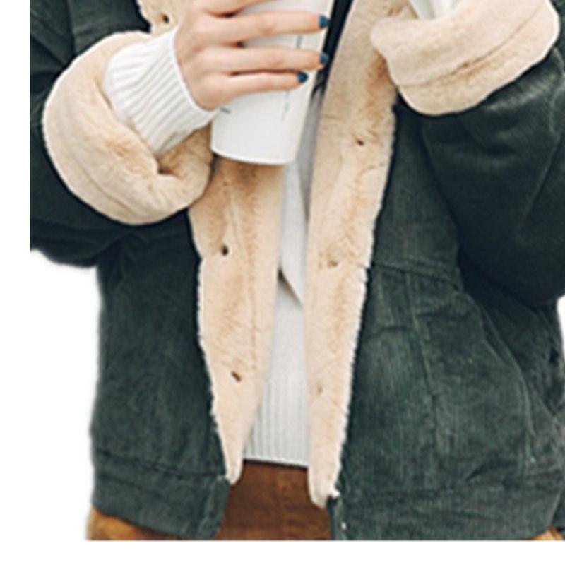 Famoso Autunno Inverno Donna Giacca di Velluto A Coste Agnello Cappotti  XY29