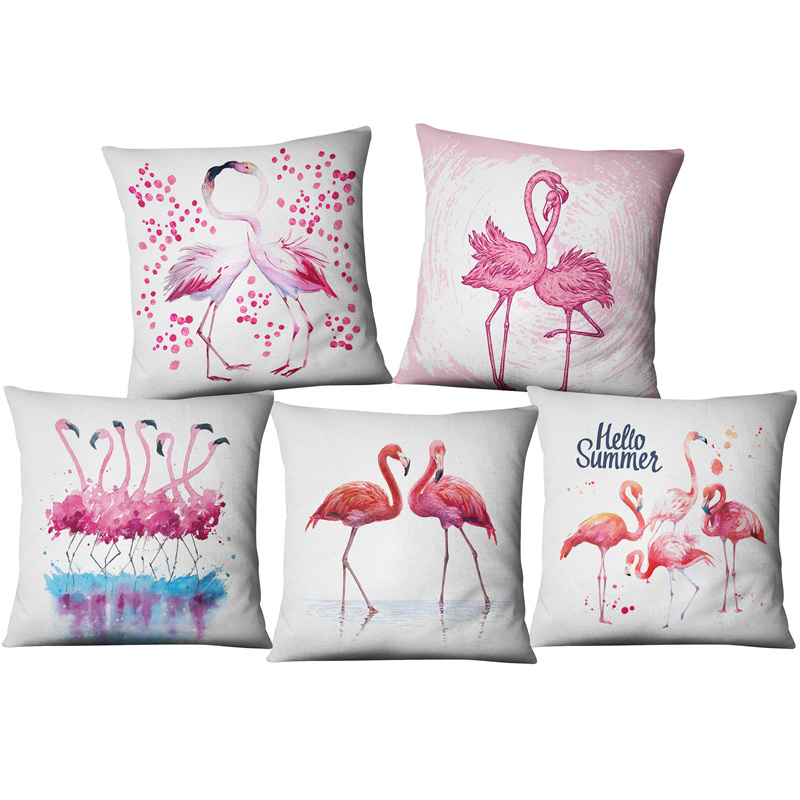 Watercolour Flamingo Printed Cushion Covers 45*45cm Cotton Linen Soft Pillow Cover for Wedding Birthday Party New Year Gifts