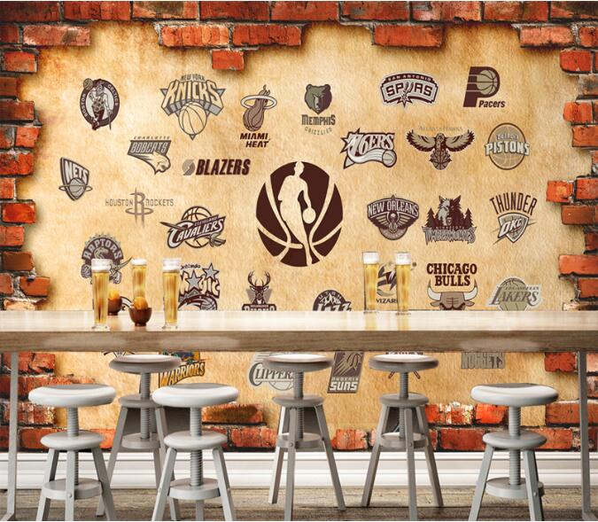 Nba pizza pattern 3d large murals photo mural 3d embossed for Mural coffee shop