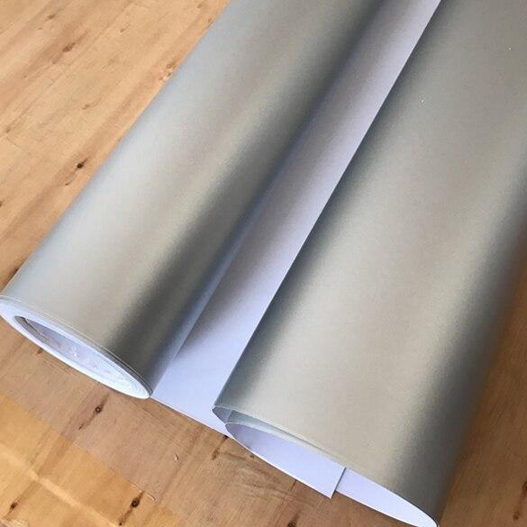 Матовый металлический хромированный виниловая пленка для автомобиля с воздушным пузырьком фиолетовая атласная металлическая наклейка из фольги для автомобиля обертывание ping покрытие - Название цвета: Silver