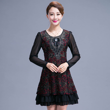 2016 High Quality Autumn Dress For Old Ladies Plus Size Middle Aged Mother Dress A line