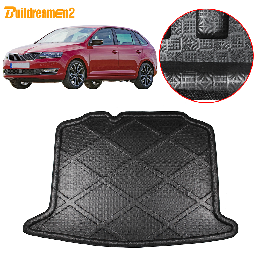 Buildreamen2 For Skoda Rapid 5 Door Spaceback Hatchback Car Rear Trunk Mat Tray Boot Liner Floor Cargo Carpet Mud Pad 2012-2018