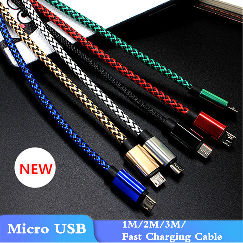 1/<font><b>2</b></font>/3 <font><b>Meter</b></font> Braided <font><b>Micro</b></font> <font><b>USB</b></font> Charging <font><b>Cable</b></font> <font><b>for</b></font> iPhone 5 5S 6S 7 8 Plus XS Android Type-C Long Mobile Phone <font><b>Charger</b></font> <font><b>For</b></font> Samsung image